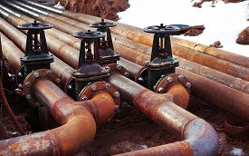 picture of gas-pipes  - Oil and gas pipe line and valves - JPG