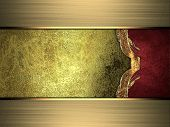picture of gold  - Grunge gold background with red side and gold edges - JPG