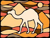 pic of dromedaries  - Graphic silhouette of a dromedary with pyramids on the background - JPG
