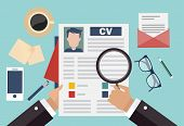 picture of summary  - Job recruitment concept with business cv resume - JPG