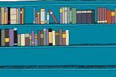 stock photo of book-shelf  - Blue book shelf half full of books - JPG