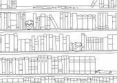 stock photo of gruesome  - Outline cartoon of strange bookends in bookshelf - JPG