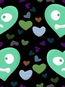 picture of heartbreaking  - Nervous green heart shapes over black background - JPG