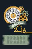 picture of steampunk  - poster with the image of a calendar for 2016 in the style of steampunk - JPG