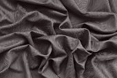 image of wavy  - Brown silk damask fabric with wavy pattern - JPG