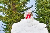 image of snowball-fight  - Beautiful small girl holds snowball and stands behind the snow wall with forest on the background - JPG