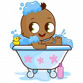 image of tub  - Vector illustration of a cute African American baby boy in a tub taking a bubble bath and playing with his rubber duck toy - JPG