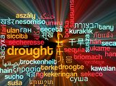 stock photo of drought  - Background concept wordcloud multilanguage international many language illustration of drought glowing light - JPG