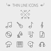 pic of drum-set  - Music and entertainment thin line icon set for web and mobile - JPG