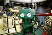 stock photo of sprinkler  - part of fire sprinkler and drainage system in the ship engine room - JPG