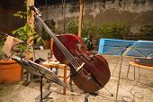 stock photo of cello  - A cello instrument before the concert begin - JPG