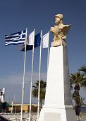 stock photo of larnaca  - statue Kimon the Athenian with Greek flag on Seaside Avenue  - JPG
