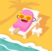 stock photo of sunbather  - Illustration of ice cream stick sunbathing on a white beach chair at the beach - JPG