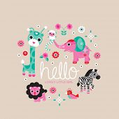 foto of zoo  - Hello little girl zoo and jungle animals postcard cover design for new born baby girls announcement or invitation  - JPG