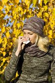 stock photo of allergy  - young beatiful woman season change with allergy - JPG