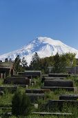 picture of armenia  - Photo of the ancient funerary monuments background Ararat Masis Etchmiadzin Cathedral Armenia - JPG