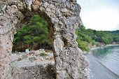 stock photo of aqueduct  - The ruins of the ancient aqueduct at Phaselis Turkey - JPG