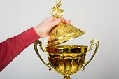 pic of plinth  - Hand opens lid of gold cup - JPG