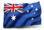 stock photo of waving  - Waving flag of Australia isolated on white background - JPG