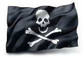 stock photo of pirate flag  - Black pirate flag with skull and crossbones symbol isolated on white background - JPG