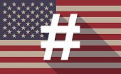 picture of hash  - Illustration of an USA flag icon with a hash tag - JPG
