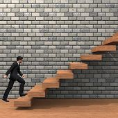 picture of climbing wall  - Concept or conceptual 3D man or  businessman climbing on a stair or steps near a wall background - JPG