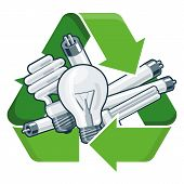picture of reuse recycle  - Used light bulbs with green recycling symbol in cartoon style - JPG