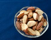 image of brazil nut  - Organic Brazil nuts in a glass bowl with space for text - JPG