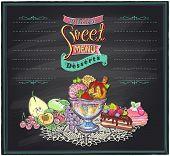 stock photo of ice-cake  - Delicious sweet desserts chalkboard menu list - JPG