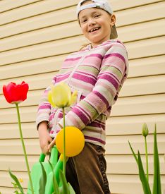 pic of red siding  - The girl of 9 years costs with a green watering can against a wall from a siding - JPG