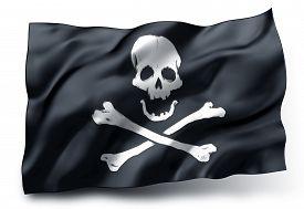 stock photo of skull crossbones flag  - Black pirate flag with skull and crossbones symbol isolated on white background - JPG