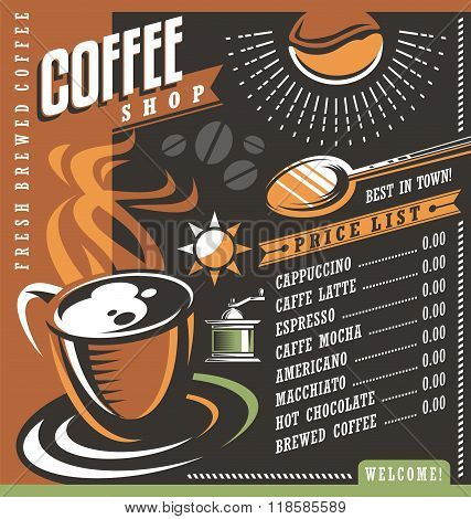 Coffee house menu creative template. Cafe price list with cup of ...