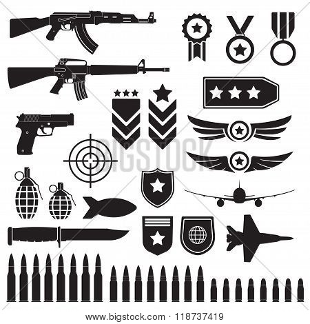 Weapons and military set Machine