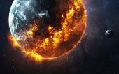 Abstract apocalyptic background - burning and exploding planet . This image elements furnished by NA poster