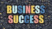 Постер, плакат: Business Success in Multicolor Doodle Design
