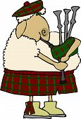 picture of bagpiper  - this illustration depicts a sheep in traditional scot attire playing bagpipes - JPG