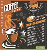 ������, ������: Coffee house menu creative template Cafe price list with cup of coffee and coffee beans