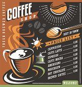 Постер, плакат: Coffee house menu creative template Cafe price list with cup of coffee and coffee beans