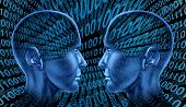 foto of binary code  - digital exchange technology sharing binary code human head blue technological social internet innovation - JPG