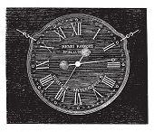 Постер, плакат: Robert Henri clock vintage engraved illustration Magasin Pittoresque 1880