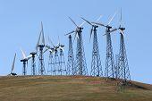 stock photo of wind-turbine  - Wind turbines for alternative energy - JPG