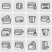 Vector line credit card icon set poster