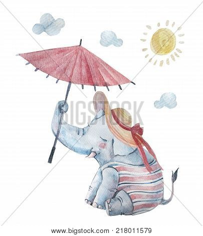 poster of Cute baby elephant in swimsuite large brimmed sun hat under umbrella isolated on background. Cartoon hipster animal character. Watercolor nursery illustration. Hand drawn childish art