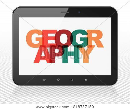 poster of Studying concept: Tablet Pc Computer with Painted multicolor text Geography on display, 3D rendering