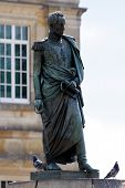 stock photo of bolivar  - A public statue of Simon Bolivar at Bolivar Plaza in Bogota Colombia
