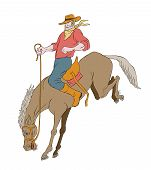 stock photo of bronco  - illustration of rodeo cowboy riding bucking horse bronco on isolated white background cartoon style - JPG