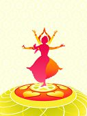stock photo of bharatanatyam  - Dancing women greeting card for Onam holiday - JPG