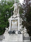 image of mozart  - Statue of Mozart in a lovely park in Vienna - JPG