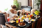 Healthy Family Breakfast For Mother And Kids. poster