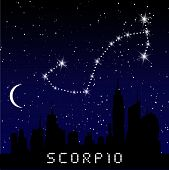 Scorpio Zodiac Constellations Sign On Beautiful Starry Sky With Galaxy And Space Behind. Scorpio Hor poster